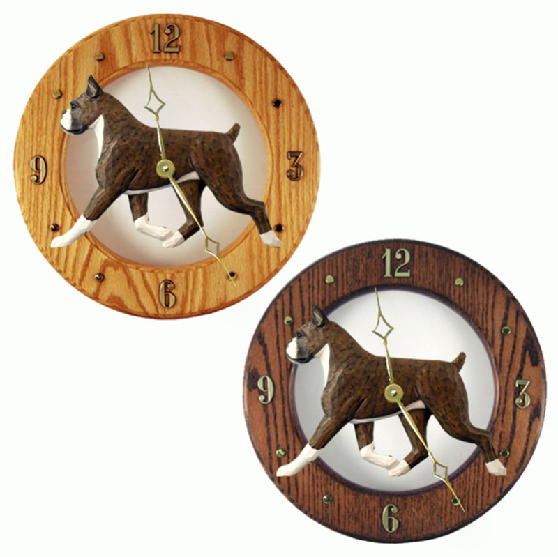 Boxer Wood Wall Clock Plaque Brindle