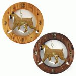 Boxer Wood Wall Clock Plaque Fawn