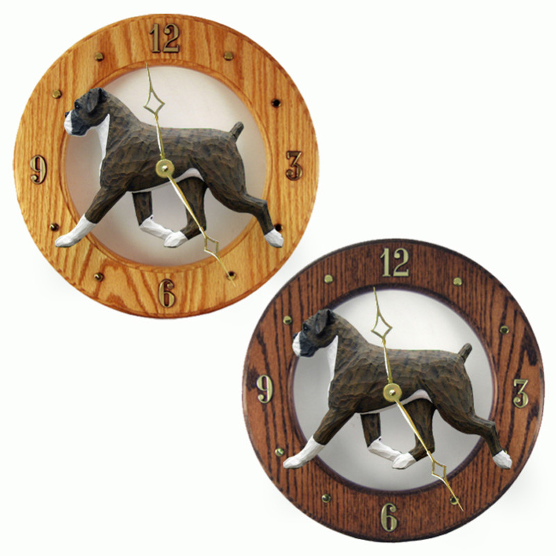 Boxer Wood Wall Clock Plaque Brindle Uncrop