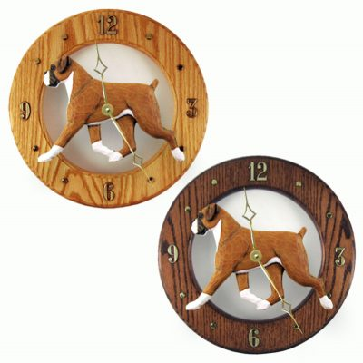 Boxer Wood Clock Wall Plaque Fawn Uncropped