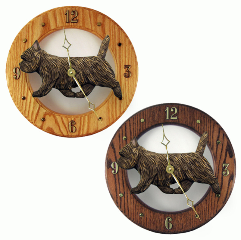 Cairn Terrier Wood Wall Clock Plaque Blk Brindle
