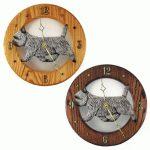 Cairn Terrier Wood Wall Clock Plaque Light Grey