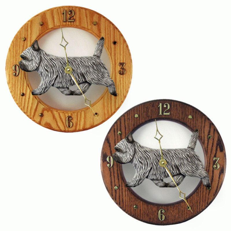 Cairn Terrier Wood Wall Clock Plaque Light Grey