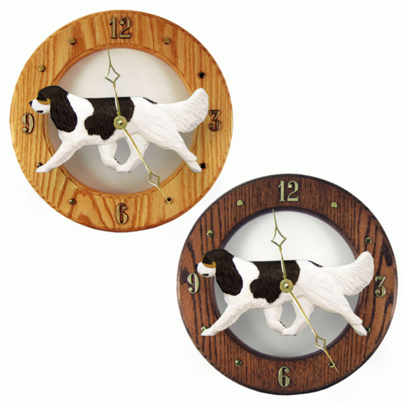 Cavalier King Charles Wood Wall Clock Plaque Tri