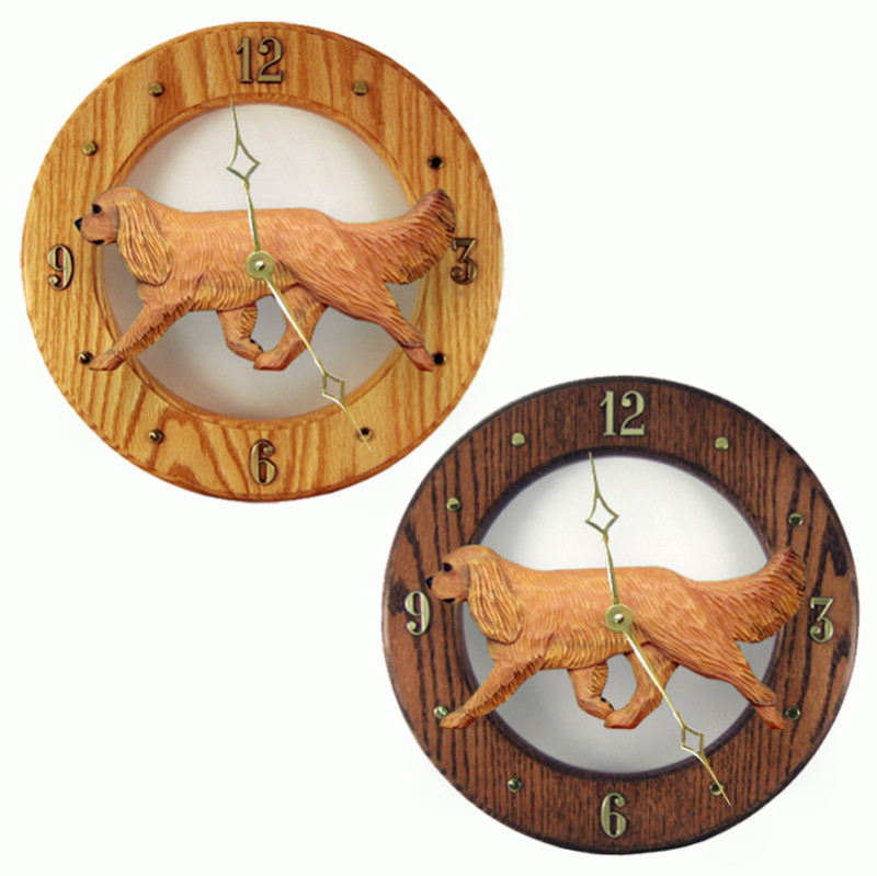 Cavalier King Charles Wood Wall Clock Plaque Ruby