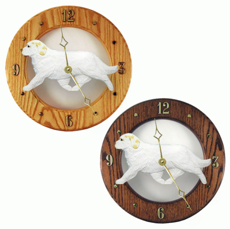Clumber Spaniel Wood Wall Clock Plaque Lemon