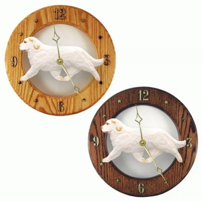 Clumber Spaniel Wood Wall Clock Plaque Orange 1