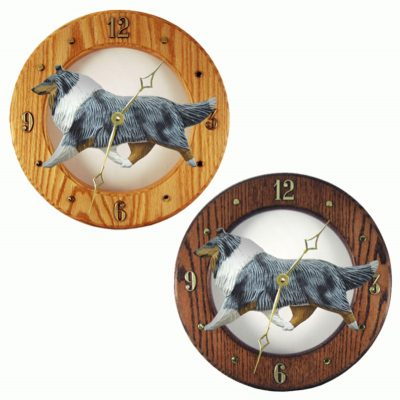 Collie Wood Wall Clock Plaque Blue 1