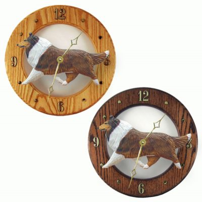 Collie Wood Wall Clock Plaque Sable 1
