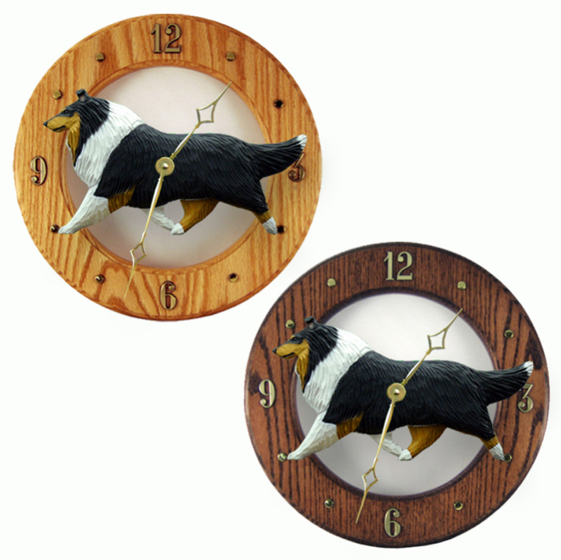 Collie Wood Wall Clock Plaque Tri