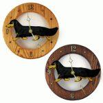 Dachshund Long Wood Wall Clock Plaque Blk/Tan 1