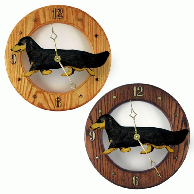 Dachshund Long Wood Wall Clock Plaque Blk/Tan