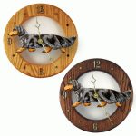 Dachshund Long Wood Wall Clock Plaque Blue Dapple