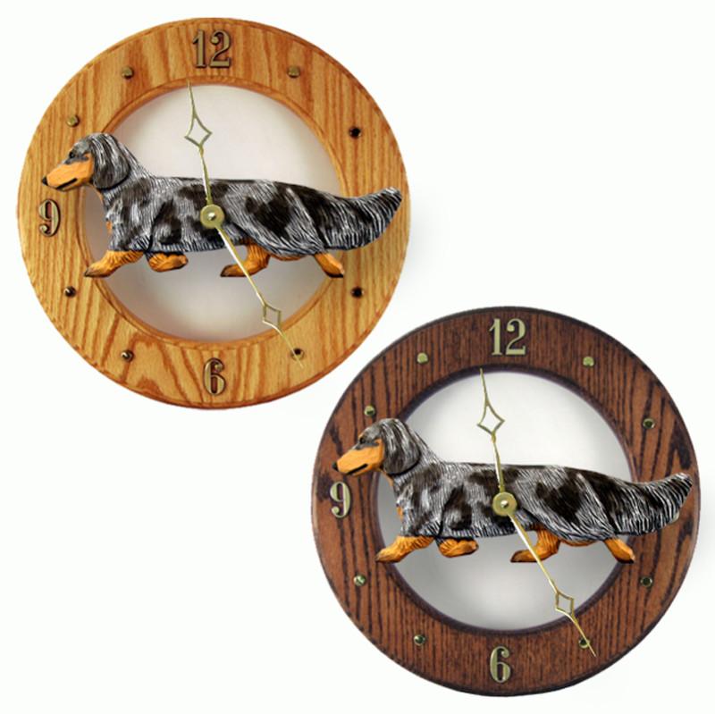 Dachshund Long Wood Wall Clock Plaque Blue Dapple