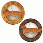 Dachshund Long Wood Wall Clock Plaque Red
