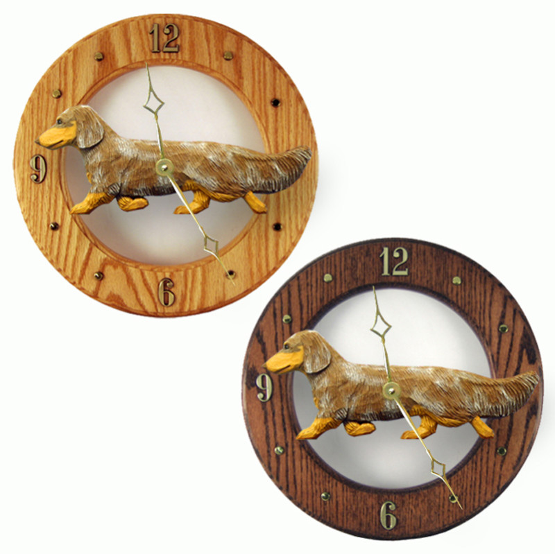 Dachshund Long Wood Wall Clock Plaque Red Dapple
