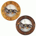 Dachshund Wood Wall Clock Plaque Blue Dapple