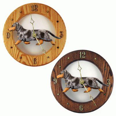 Dachshund Wood Wall Clock Plaque Blue Dapple 1