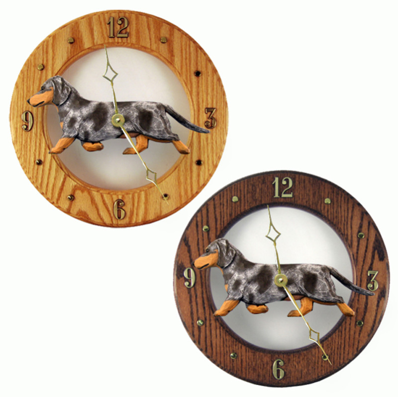 Dachshund Wood Wall Clock Plaque Blue Dapple