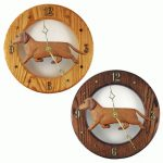 Dachshund Wood Wall Clock Plaque Red 1