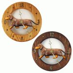 Dachshund Wood Wall Clock Plaque Red Dapple