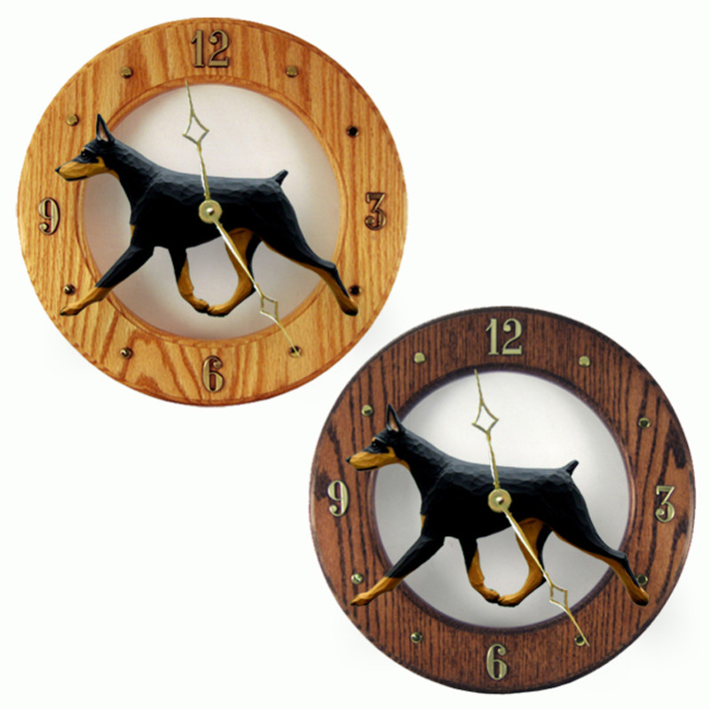 Doberman Wood Clock Wall Plaque Black/Tan 1