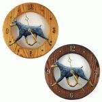 Doberman Wood Wall Clock Plaque Blue/Tan