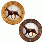 Doberman Wood Wall Clock Plaque Red/Tan