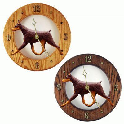 Doberman Wood Wall Clock Plaque Red/Tan