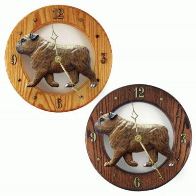 English Bulldog Wood Wall Clock Plaque Brindle 1