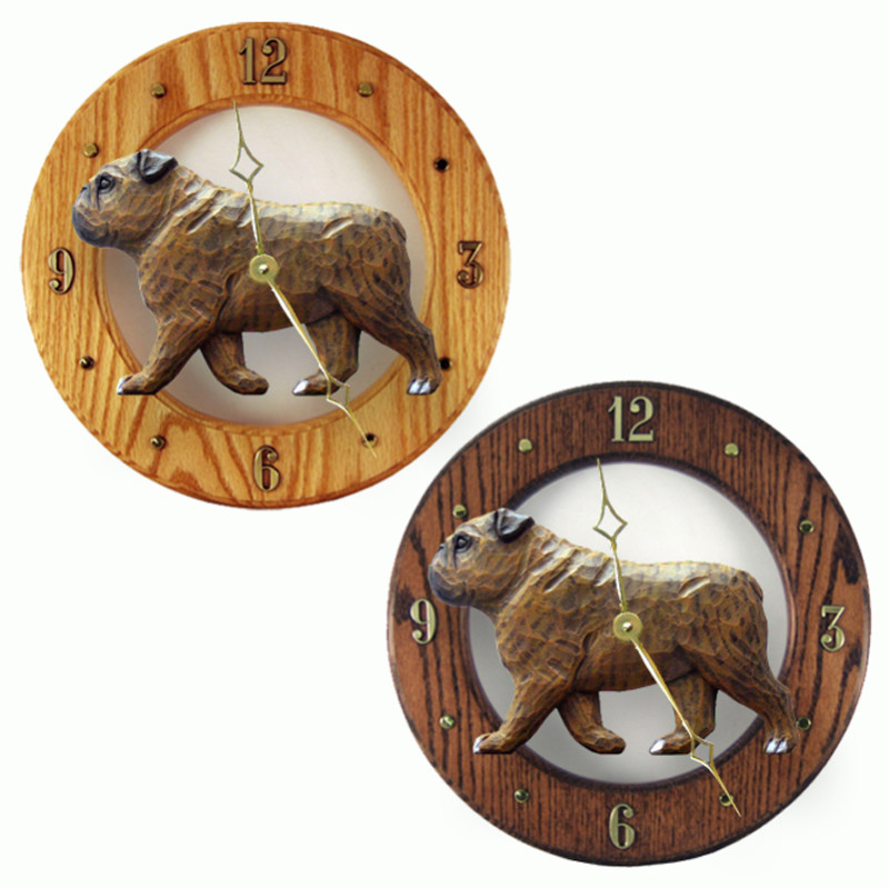 English Bulldog Wood Wall Clock Plaque Brindle