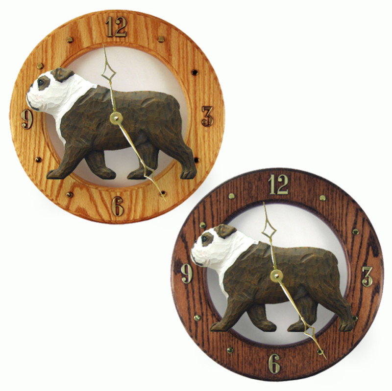 English Bulldog Wood Clock Wall Plaque Brindle/White