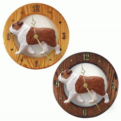English Bulldog Wood Wall Clock Plaque Red