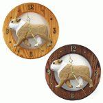 English Bulldog Wood Wall Clock Plaque Tan