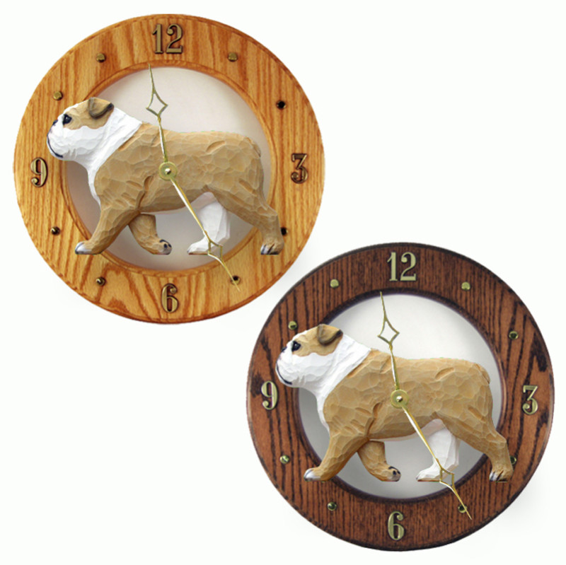 English Bulldog Wood Wall Clock Plaque Tan