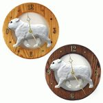 English Bulldog Wood Wall Clock Plaque Wht