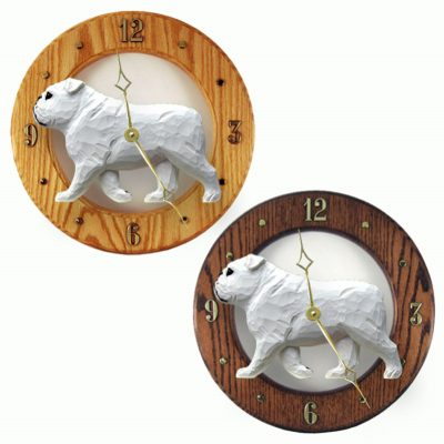 English Bulldog Wood Wall Clock Plaque Wht 1