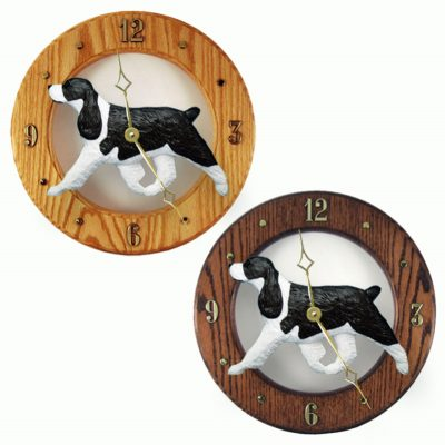 English Springer Spaniel Wood Wall Clock Plaque Blk 1