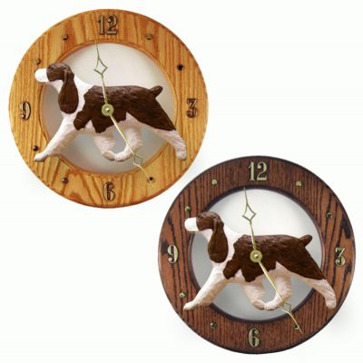 English Springer Spaniel Wood Wall Clock Plaque Liver