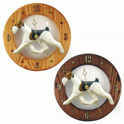 Wire Fox Terrier Wood Wall Clock Plaque