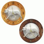 French Bulldog Wood Wall Clock Plaque Cream