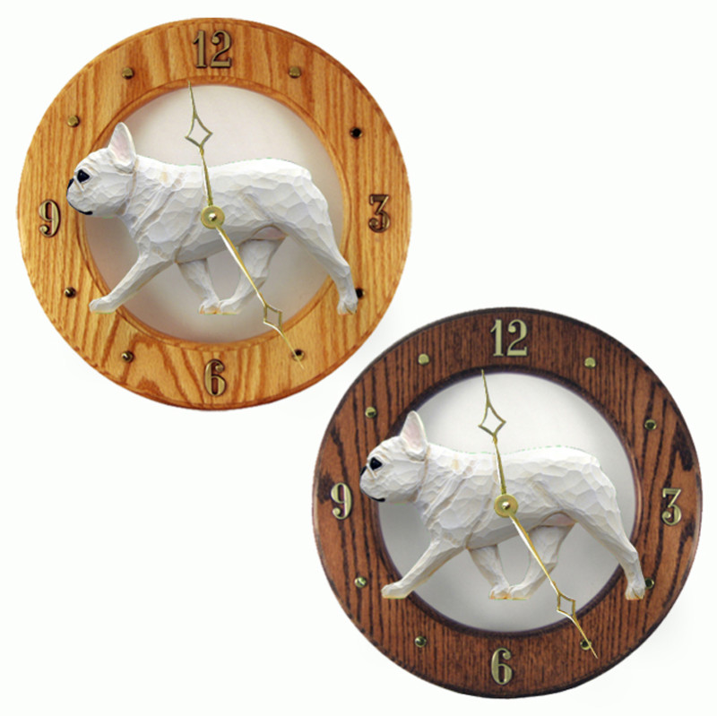 French Bulldog Wood Wall Clock Plaque Cream