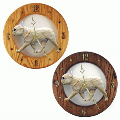 French Bulldog Wood Wall Clock Plaque Fawn 1