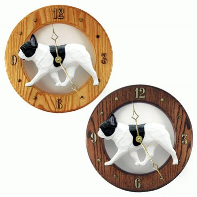 French Bulldog Wood Wall Clock Plaque Pied 1
