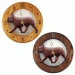 French Bulldog Wood Wall Clock Plaque Red Brindle 1