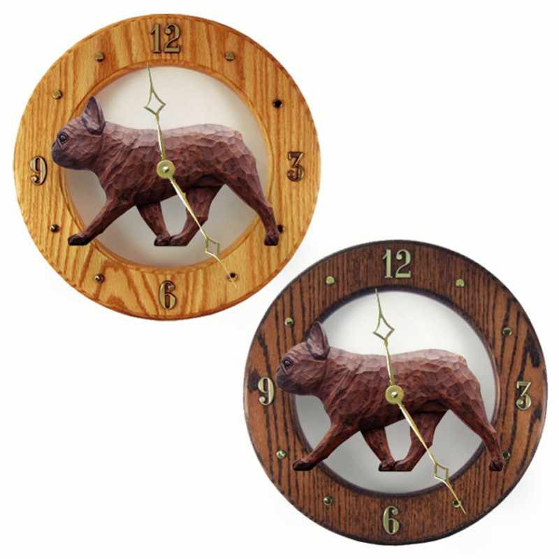 French Bulldog Wood Wall Clock Plaque Red Brindle