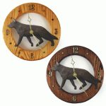 German Shepherd Wood Clock Wall Plaque Black