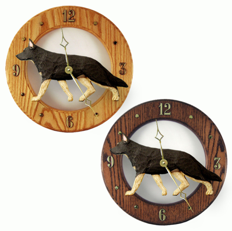 German Shepherd Wood Wall Clock Plaque Blk/Tan