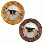 German Shepherd Wood Wall Clock Plaque Tan/Blk 1
