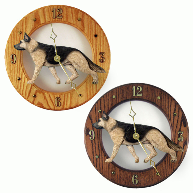 German Shepherd Wood Wall Clock Plaque Tan/Blk